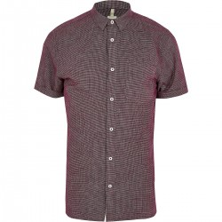 Burgundy textured slim fit shirt